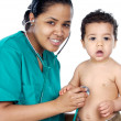 Foto Stock: Young pediatrician with baby