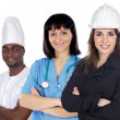 Multiracial group of workers on a white background - Stock Photo