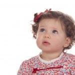 ragazza bambino divertente con anello rosso — Foto Stock
