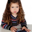 Stock Photo: Adorable baby with calculator