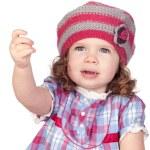 Smiling baby girl asking something — Stock Photo #9628978