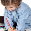 Beautiful girl painting with preschool uniform — Stock Photo #9629039
