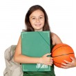 Student girl with folder, backpack and basketball — Stock Photo #9629432