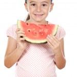Adorable girl eating — Stock Photo