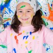 Girl playing with painting - Stock fotografie