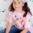 Girl playing with painting — Foto Stock