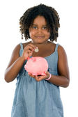 Caja de dinero chica whit — Foto de Stock