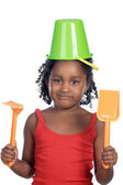 Girl with bucket in her head — Stock Photo