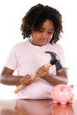 Fille avec boîte de marteau et de l'argent — Photo