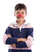 Portrait of an adorable child with a clown nose — Stock Photo