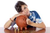 Girl whit money box — Stock Photo