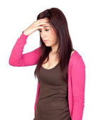 Beautiful girl with headache — Stock Photo