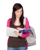 Student girl with a notebook — Stock Photo