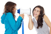 Teen girl with megaphone — Stock Photo