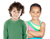 Two beautiful children of different races — Stock Photo