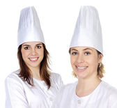 Attractive couple of cook girls — Stock Photo