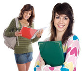 Two sisters student — Stock Photo