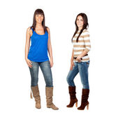 Two pretty girls with jeans — Stock Photo