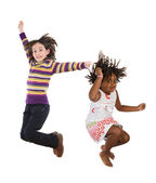Children jumping at once — Stockfoto