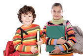 Two students returning to school — Stock Photo