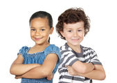 Two children of different races — Stockfoto