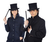 Attractive couple with a magic wand — Stock Photo