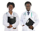 Couple of African Americans doctors — Stock Photo