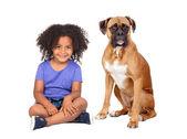 девочка африканских и ее собака — Стоковое фото