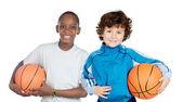 Duas crianças adoráveis com bolas — Foto Stock