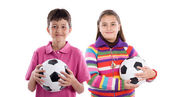 Two adorable children with soccer balls — Stock Photo
