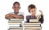 Adorable child with many books — Stock Photo