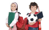 两个孩子学生回到学校 — 图库照片