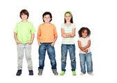 четыре красивых и разных детей — Стоковое фото