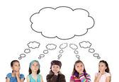Group of five children thinking — Stock Photo