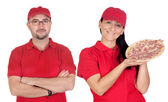Deliver boy and girl with pizza — Stock Photo