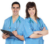 Couple of young doctors — Stock Photo
