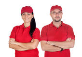 Deliverers team with red uniform — Stock Photo