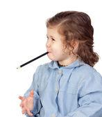 Beautiful girl with preschool uniform — Stock Photo
