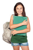 Student girl with folder and backpack — Stock Photo
