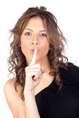 Attractive model gir silent ordering — Stock Photo