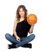Attractive girl with a basket ball — Stock Photo