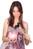 Beautiful girl with piggy-bank — Stock Photo