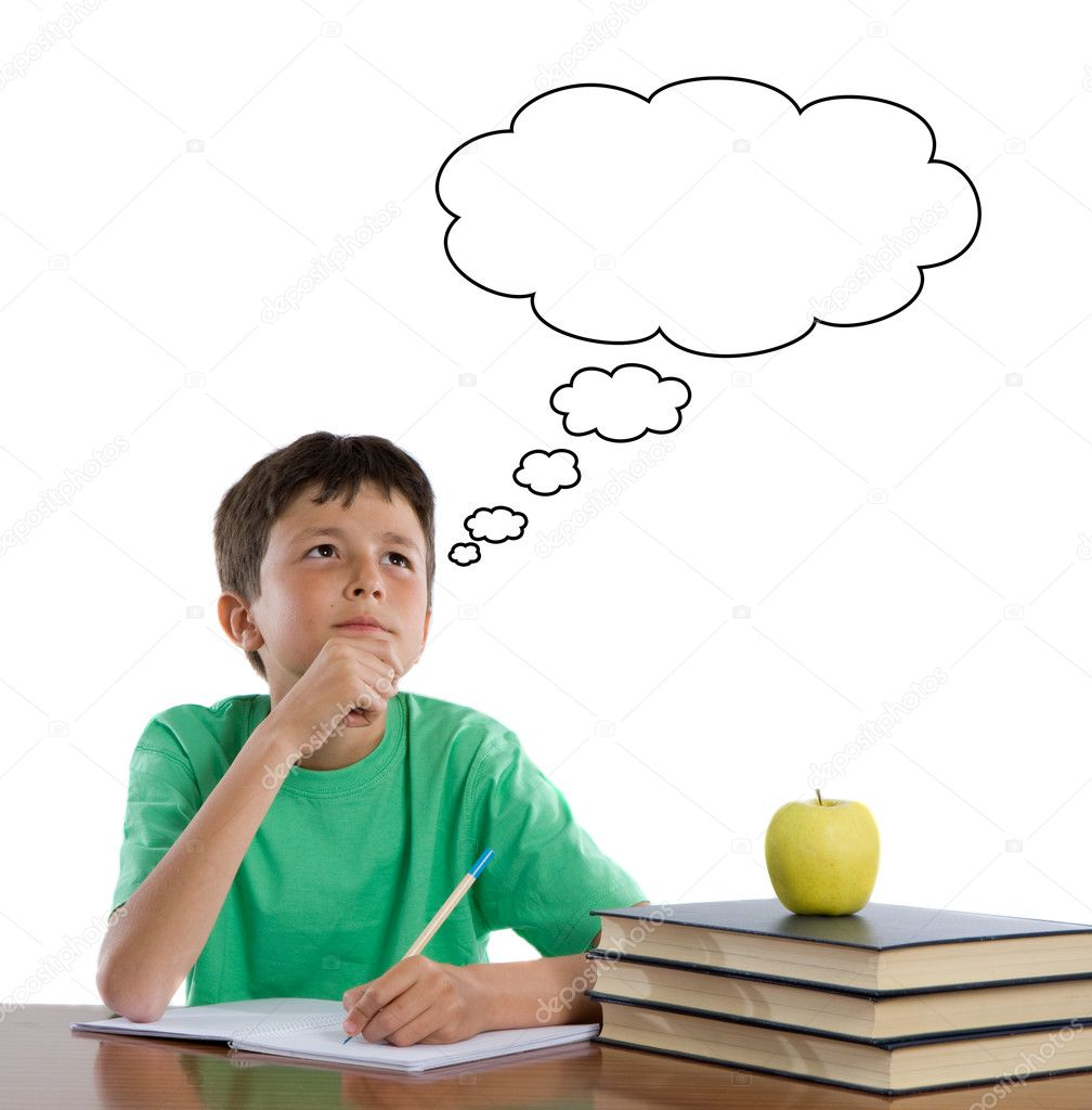 Adorable student thinking on a over white background — Stock Photo #9625727