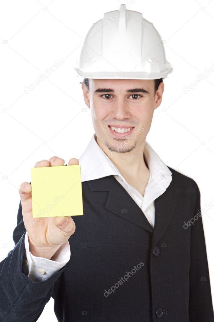 Attractive young architect with the center of focus  a over white background — Stock Photo #9625783