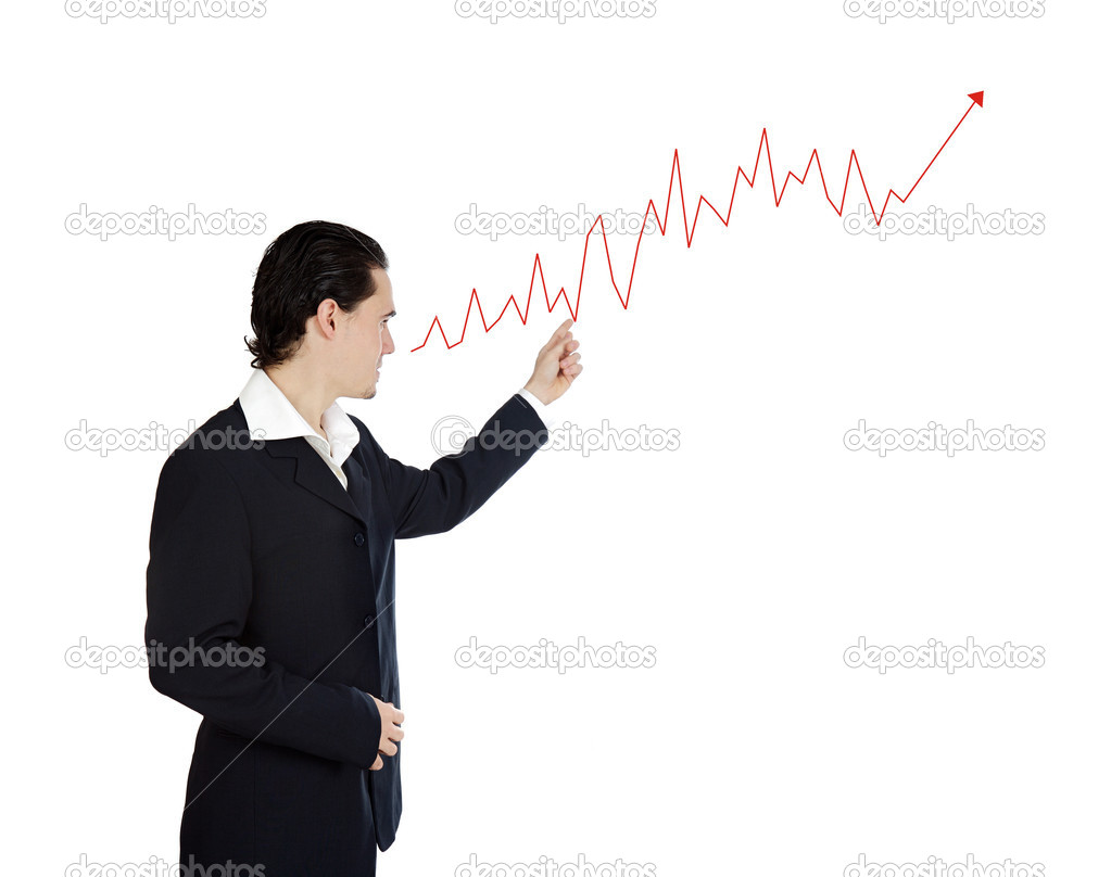 Attractive businessman with a ascend graph isolated over white  Stock Photo #9625792