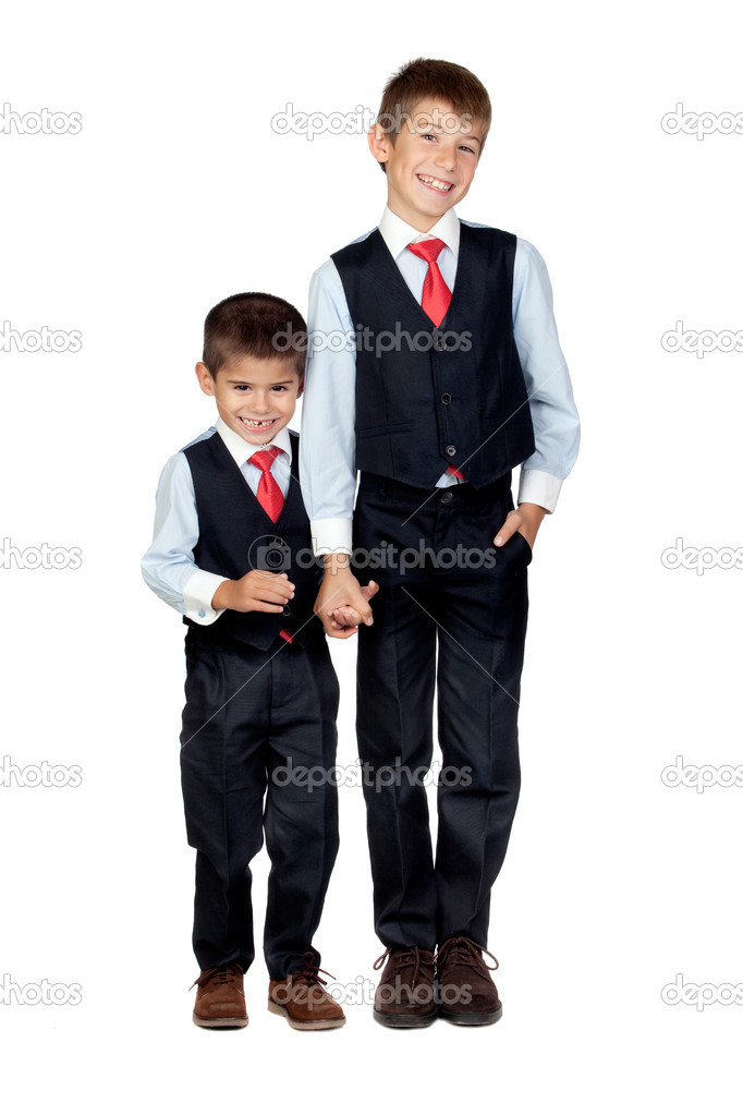 Two funny businessmen isolated on a over white background  Stock Photo #9626450