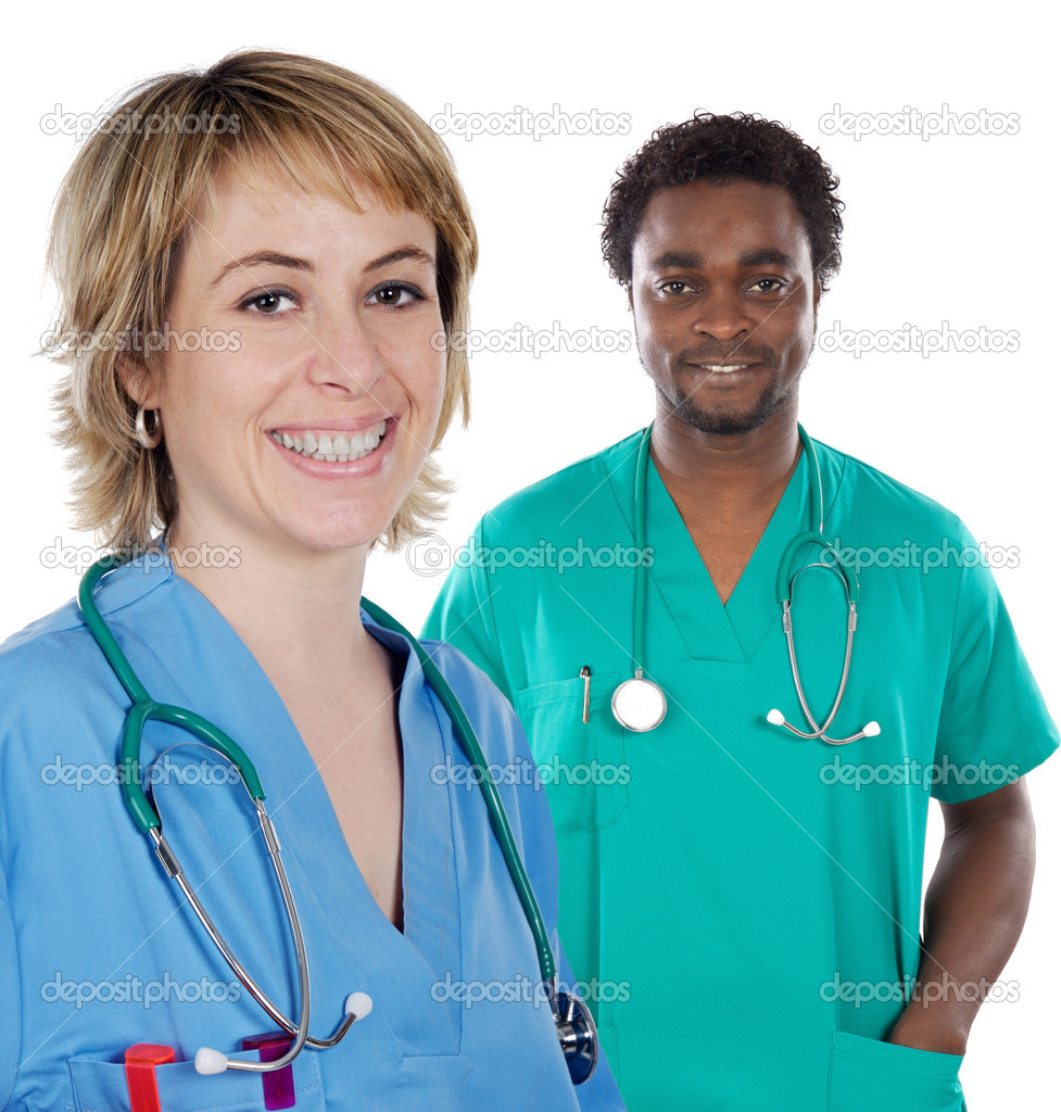 Couple of young doctors a over white background — Stock Photo #9626682