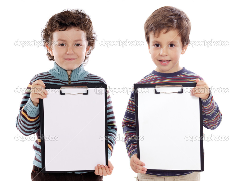 Two beautiful boys student with notepad (you can put your text) — Stock Photo #9626942
