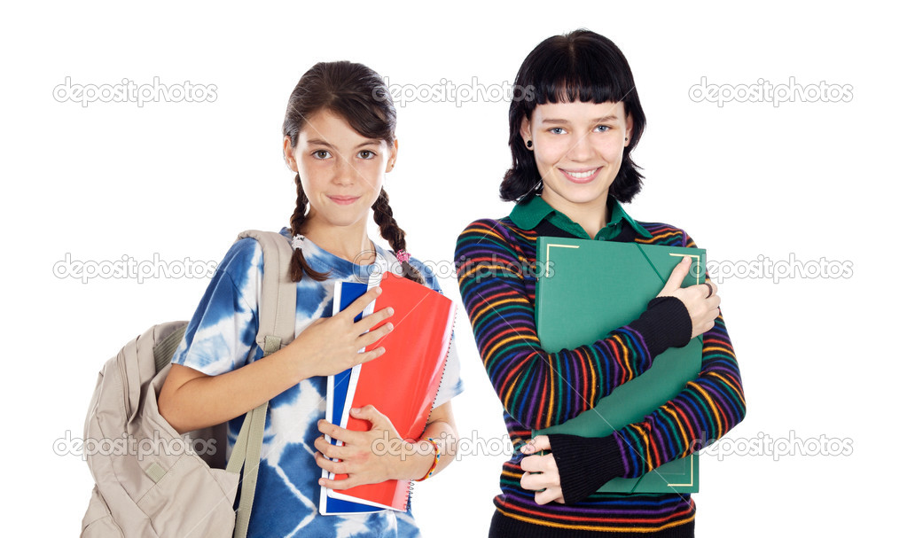 Students of different ages with a backpack and folder isolated on white  Stock Photo #9627049