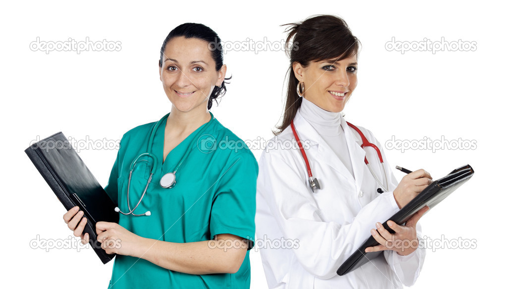 Attractive medical team of woman a over white background — Stock Photo #9627174